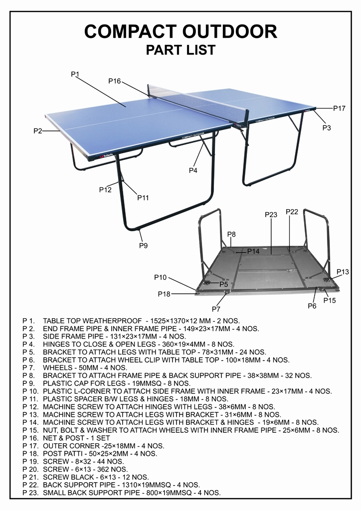 Outdoor Table Parts : Table assembly
