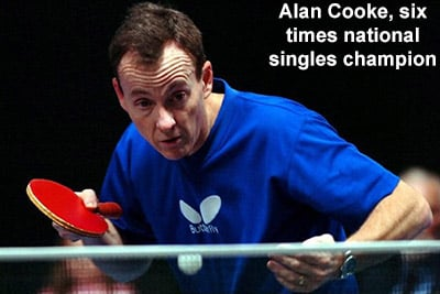 Alan Cooke is sponsored by Butterfly