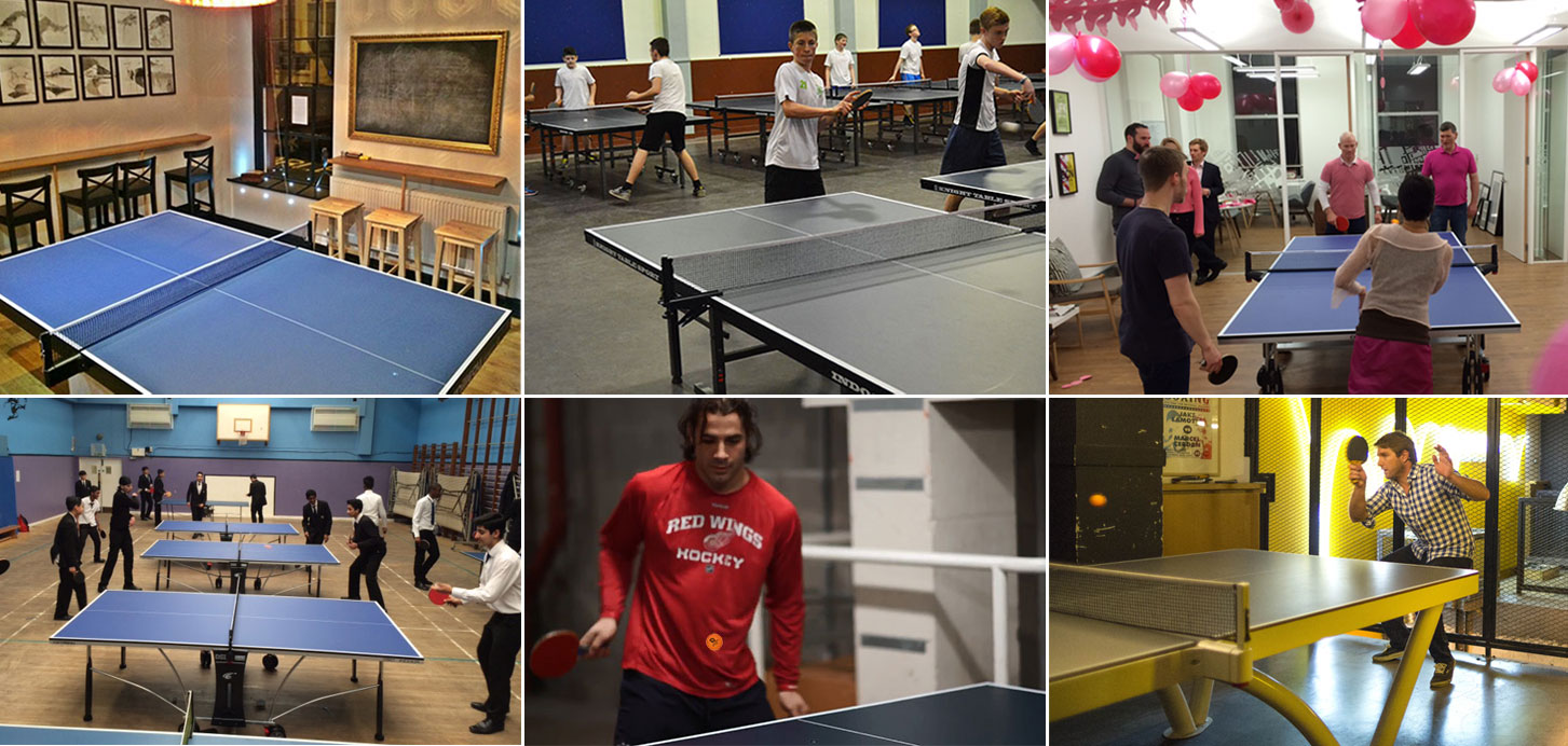 Table Tennis Collage of table tennis tables in schools, clubs and bars