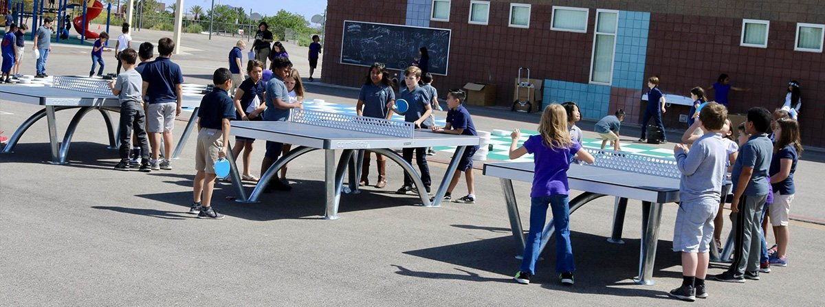 510 Table Tennis Table Being Played by School Kids