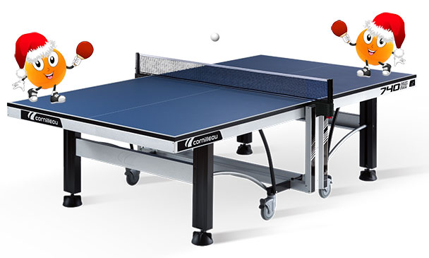 Cornilleau Competition 740 ITTF Indoor Table Tennis Table With Ping Pong Balls Wearing Christmas Hats
