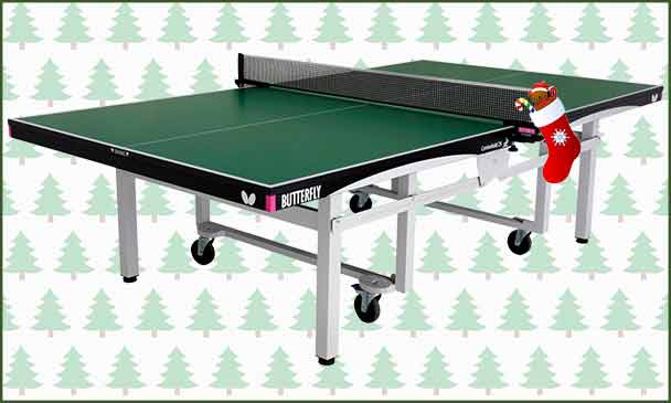 Butterfly Centrefold 25 Rollaway Indoor Table Tennis Table With Christmas Background