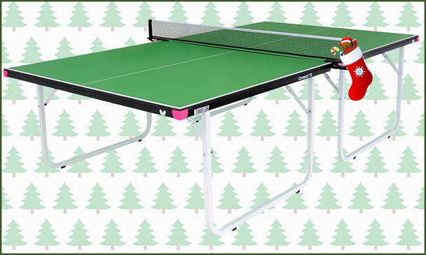 Butterfly Compact 19 Green (full size, compact storage) Indoor Table With Christmas Background