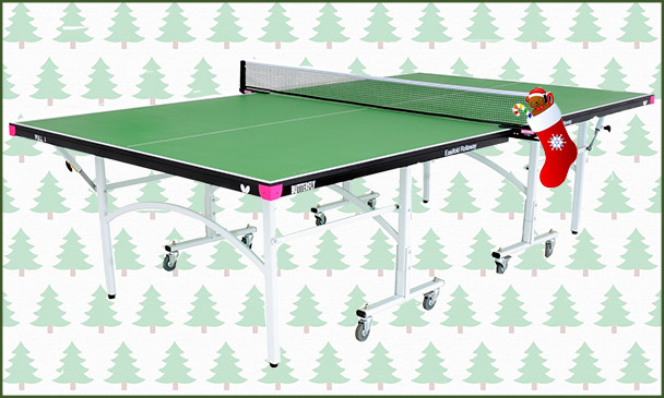Butterfly Easifold 19 Green Indoor Table Tennis Table With Christmas Background