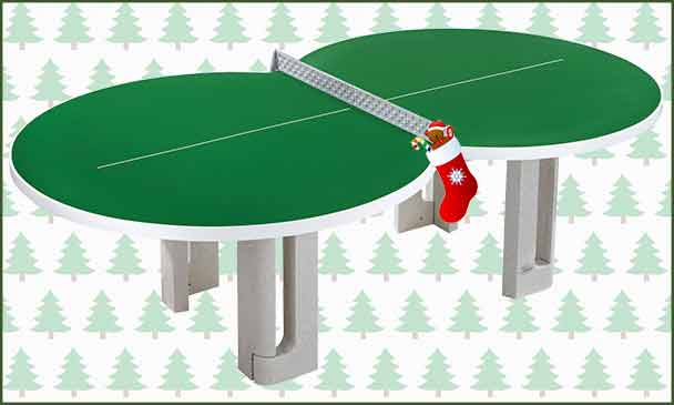 Butterfly F8 Green Polymer Concrete Table Tennis Table With Christmas Background
