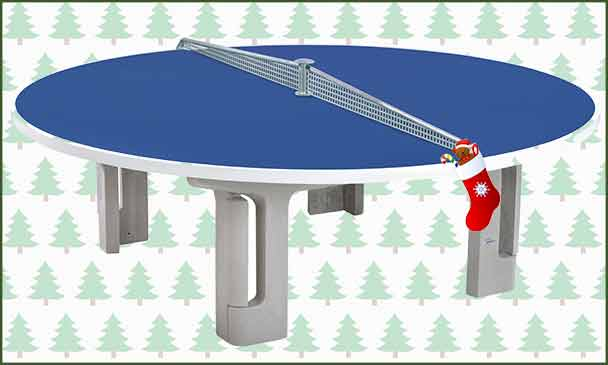 Butterfly R2000 Blue Polymer Concrete Table Tennis Table With Christmas Background
