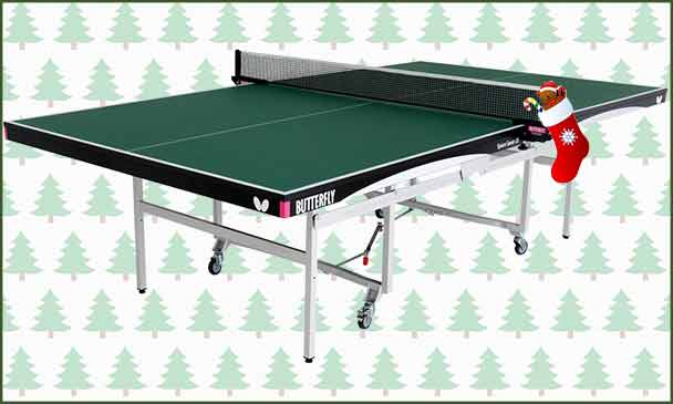 Butterfly Space Saver 22 Rollaway Indoor Table Tennis Table With Christmas Background