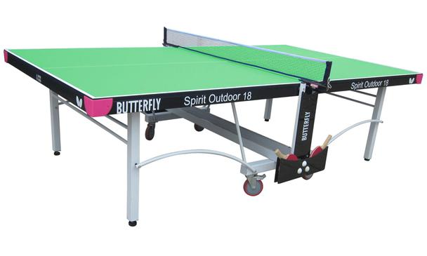 Butterfly Spirit 18 Green Outdoor Rollaway Table Tennis Table